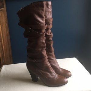 Steve Madden tall brown leather boots sz 10
